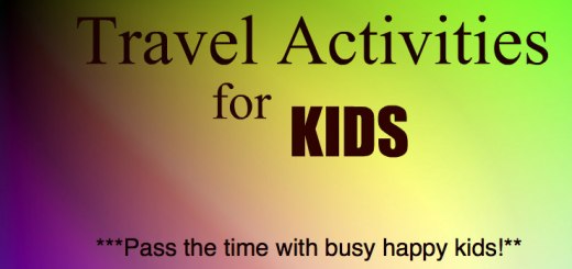 colorful background reading Travel Activities for Kids, Pass the time with happy busy kids, www.theeducationaltourist.com
