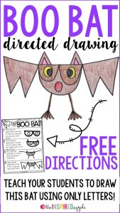 Boo Bat Directed Drawing by Babbling Amy through Teachers Pay Teachers, Waiting in line - Fun Activities for KIDS, www.theeducationaltourist.com