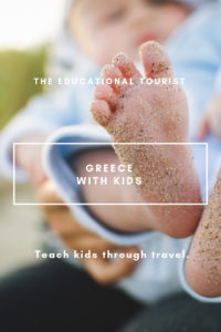 baby foot covered in sand, greece with the kids