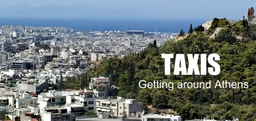 View of Athens that says Taxis: Getting Around Athens