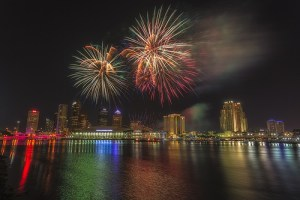 fire works over tampa