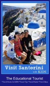 family in Oia, Santorini