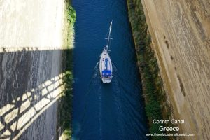 Corinth Canal in Greece with sailboat