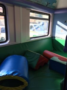 padded playroom for kids on train in Greece