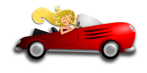 cartoon of blonde woman with long hair convertible red car