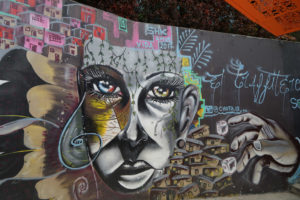 animal and woman face street mural comuna 13 colombia