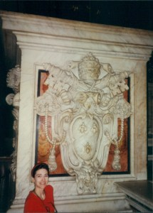 The Educational Tourist and base of baldacchino in St. Peter's basilica, travel guides for kids, www.theeducationaltourist.com