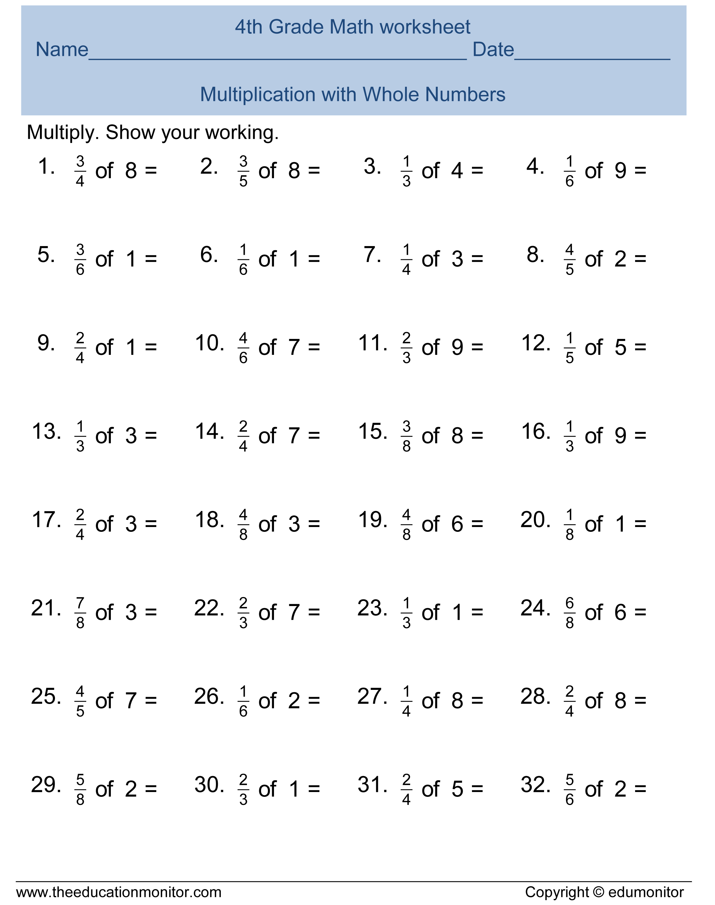 Fourth Grade Math Worksheets Archives