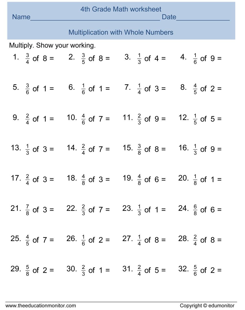 medium resolution of Free Multiplication Worksheets - EduMonitor