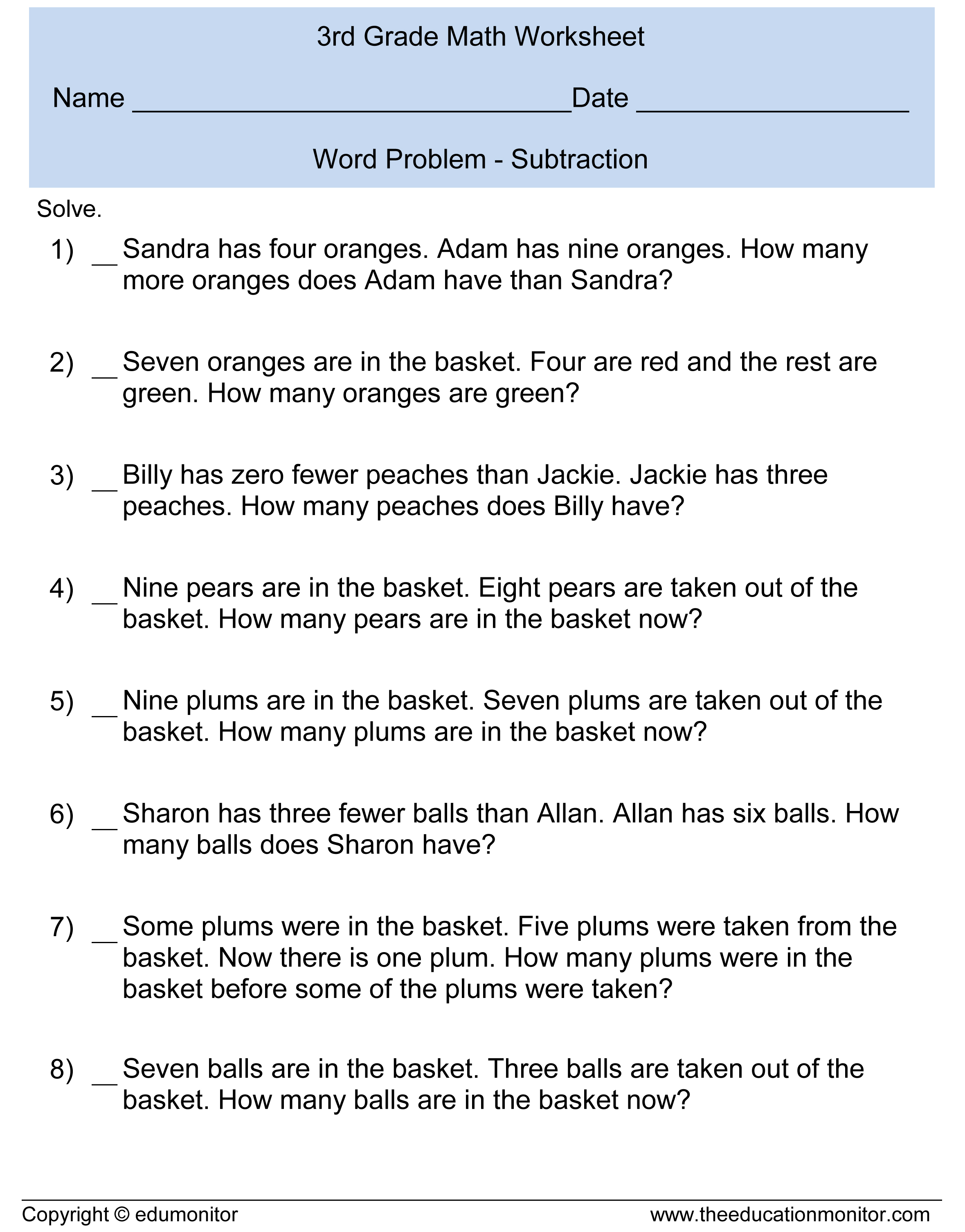 Subtraction Word Problems For Kids