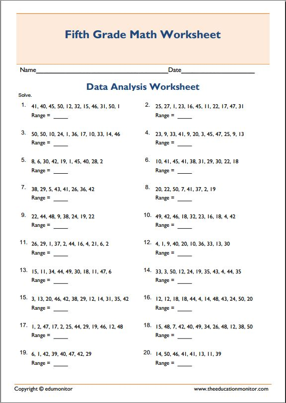 mean median mode range printable worksheets  EduMonitor