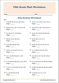 mean median mode range printable worksheets  EduMonitor