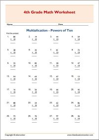 4th grade multiplication  multiples of ten worksheets