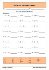 Free printable grade 5 math worksheets  EduMonitor