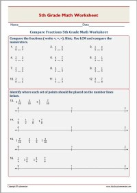 Compare Fractions 5th Grade Math Worksheet  EduMonitor
