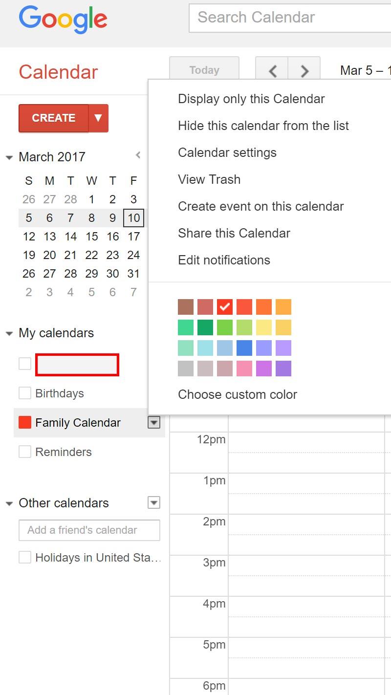 Google Calendar List