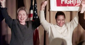 IMAGE COURTESY/ WBEZ. Past female presidential candidates, Hillary Clinton and Carol Moseley Braun.