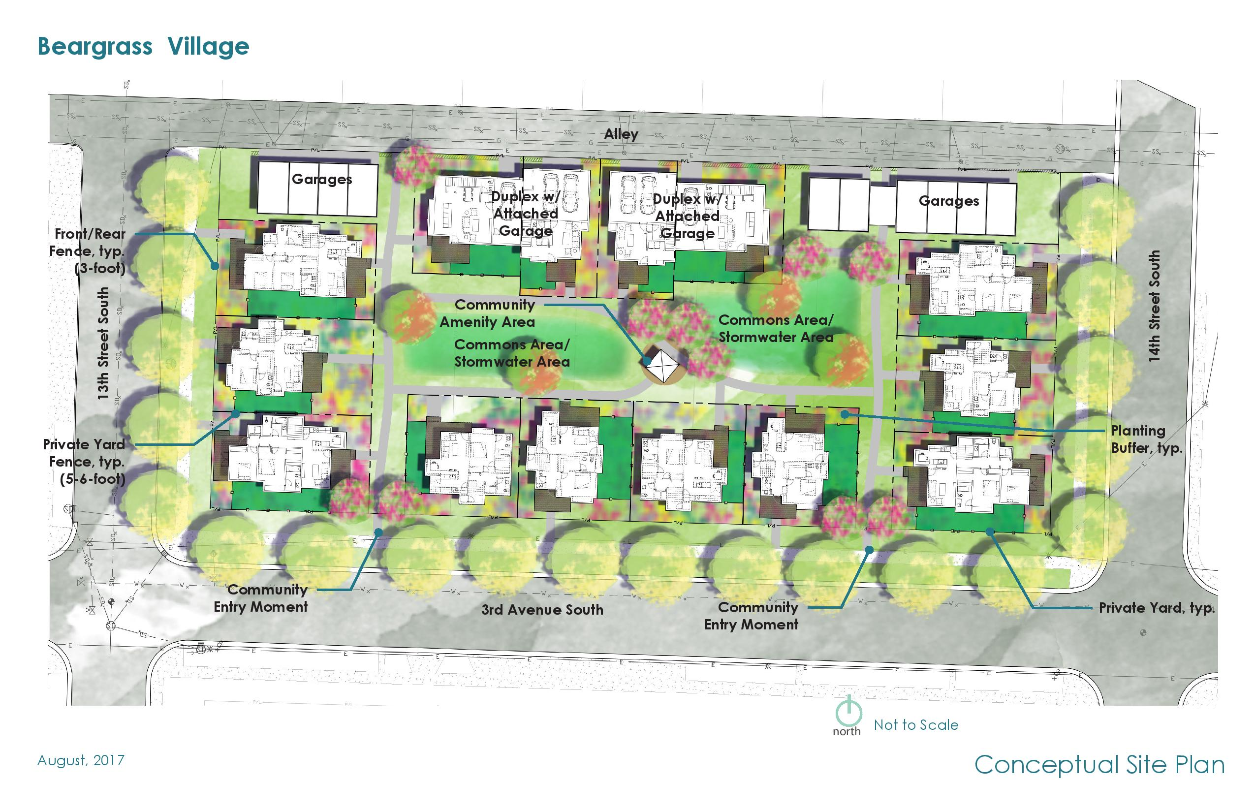 Conceptual plan for NeighborWorks Great Falls' Beargrass Village.