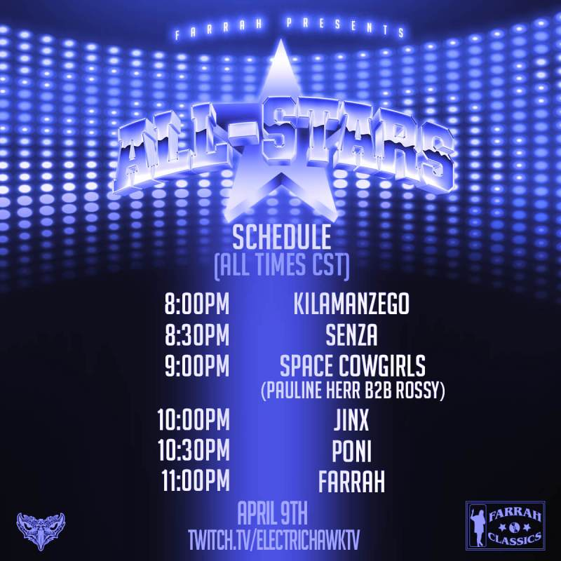 farrah all-stars schedule graphic