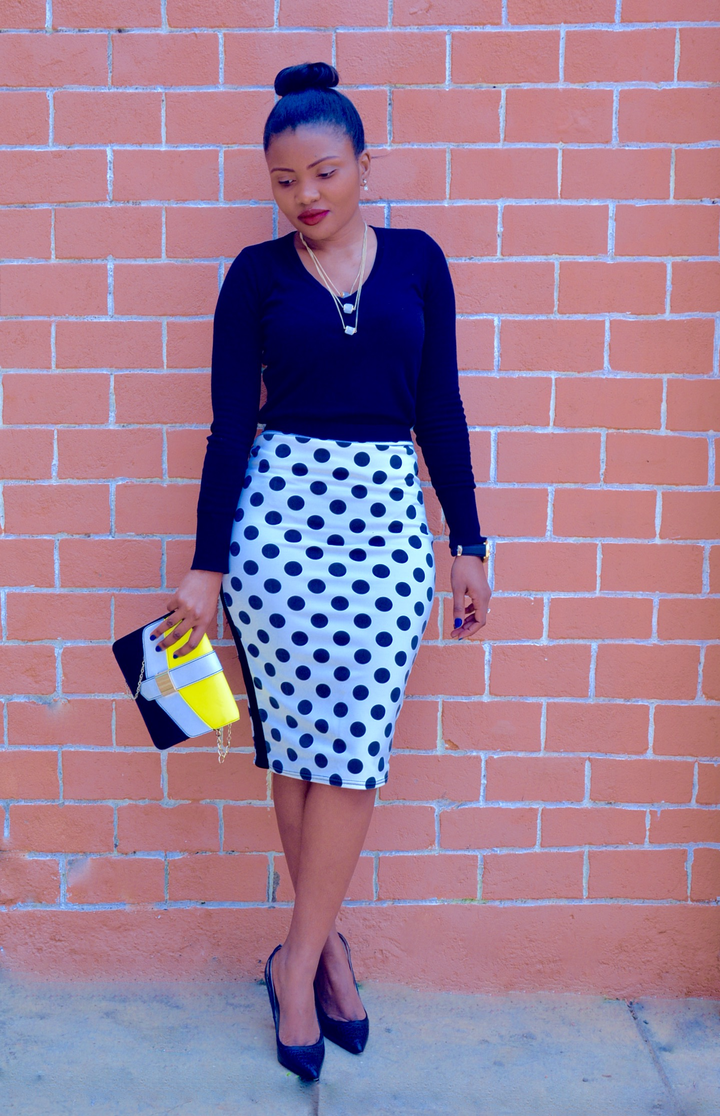 Polka Dot Skirt Outfit 1