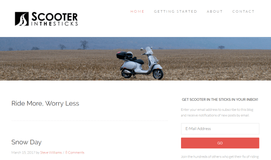 Scooter in the sticks