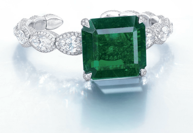 EMERALD AND DIAMOND BANGLE, BY ETCETERA