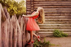 Girl on petty red valentine gown