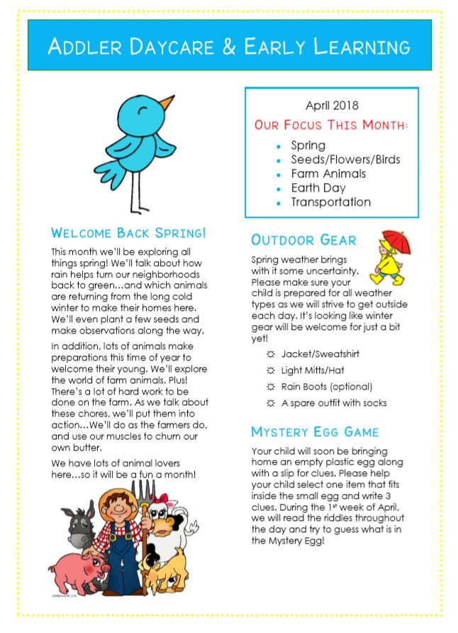 We research and generate 85% of the newsletter content each month, leave space for you to submit service specific information and deliver the template. How To Write A Child Care Newsletter The Empowered Provider