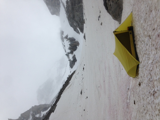 winter backpacking storm in the tensegrity 2