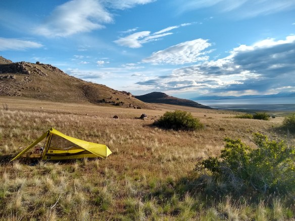 Backpacking campsite on Stansbury Island's east side
