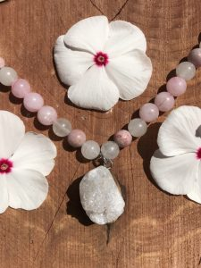 pink bead necklace with crystal druzy pendant