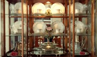 decorating a china cabinet for fall