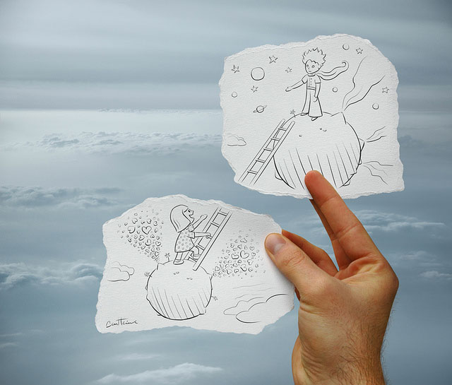 Creative Sky Romance Photo // Pencil Photography Drawing, Pencil vs Camera Ideas by Ben Heine