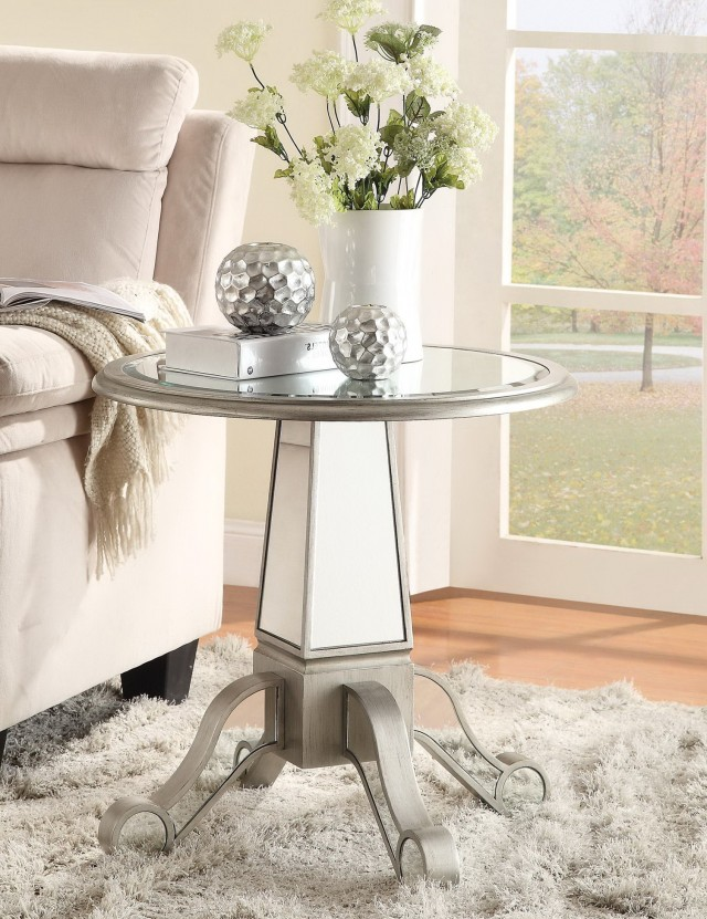 Round Mirrored Accent Table