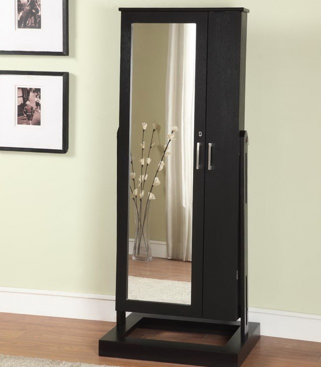 Standing Mirrored Jewelry Armoire