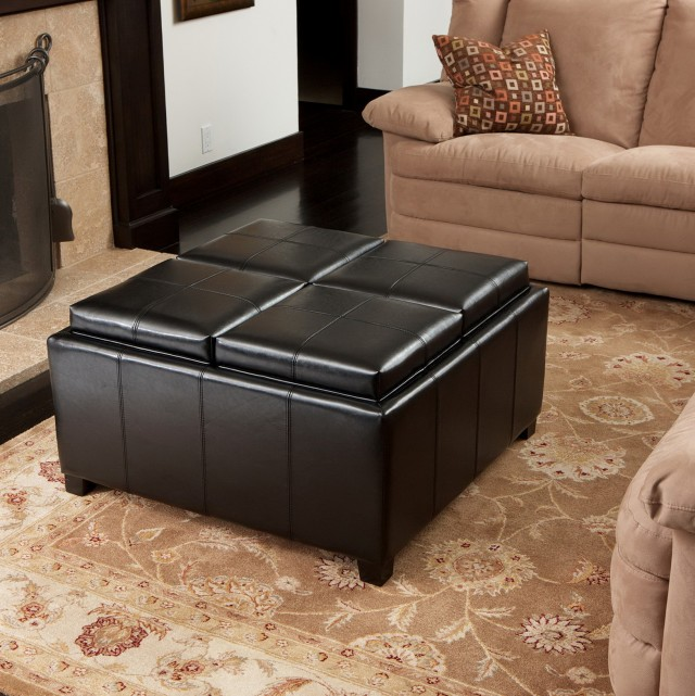 Black Leather Ottoman Coffee Table With Storage