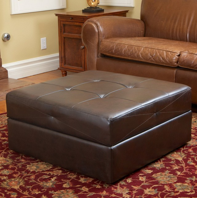 Brown Leather Ottoman With Storage