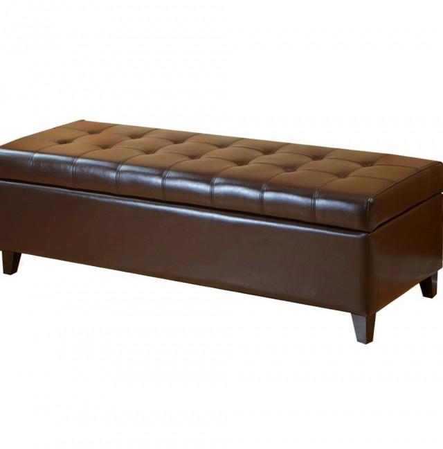 Brown Leather Storage Ottoman Bench