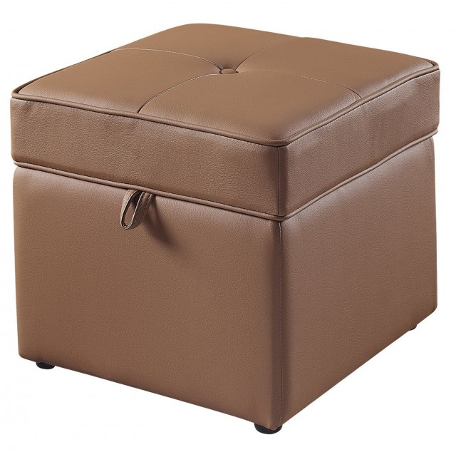 Faux Leather Storage Ottoman