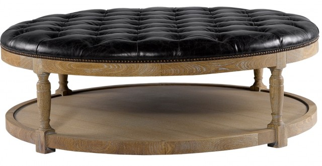 Leather Ottoman Coffee Table With Shelf