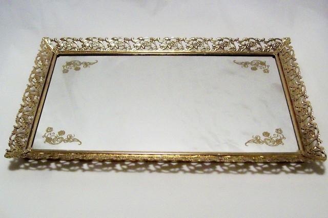 Mirrored Vanity Tray Gold