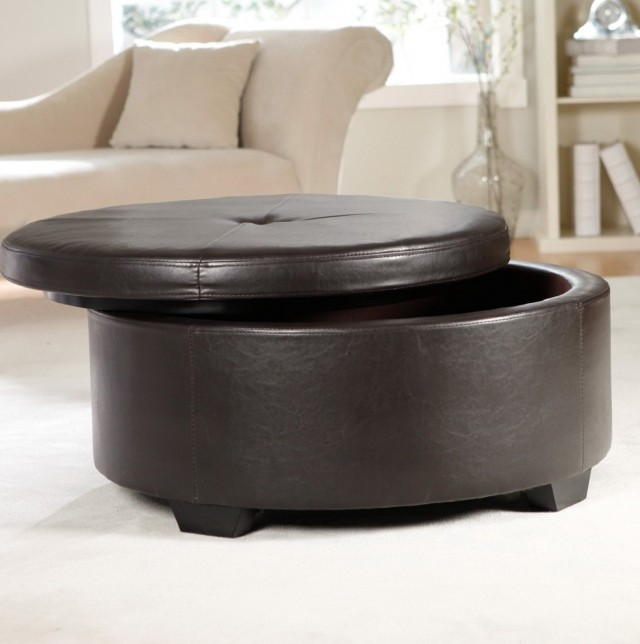 Round Coffee Table Ottoman With Storage