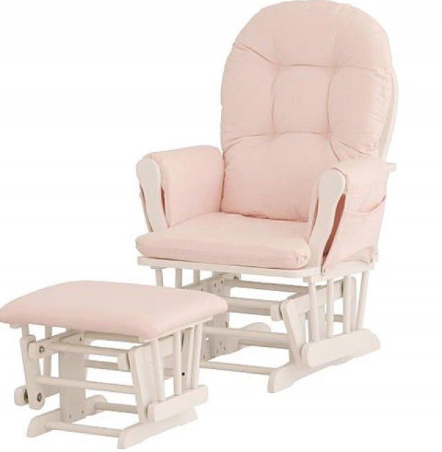 Stork Craft Hoop Glider And Ottoman White Pink
