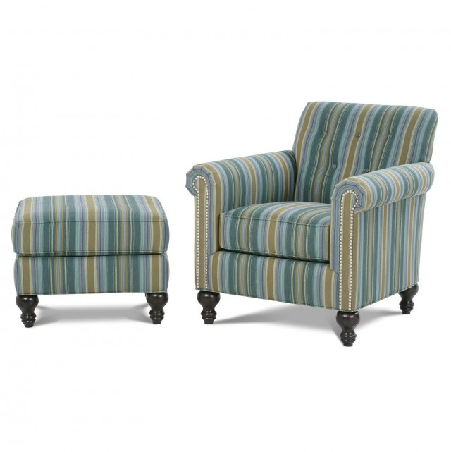 Teal Accent Chair With Ottoman