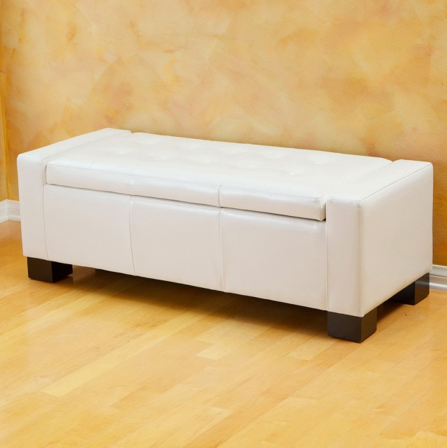 White Leather Ottoman Storage