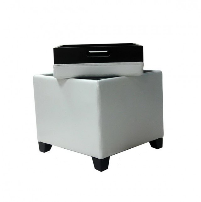 White Storage Ottoman With Tray