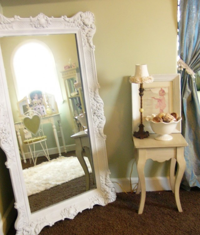 Antique White Floor Mirror