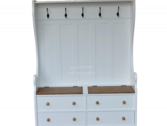 Storage Bench With Coat Rack White