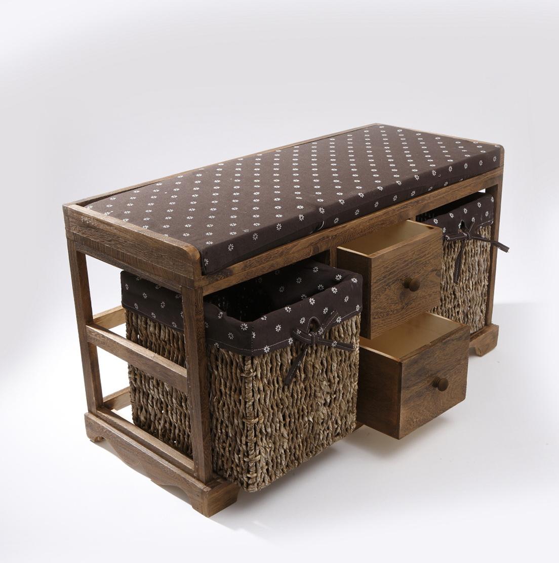 Wooden Storage Bench With Baskets