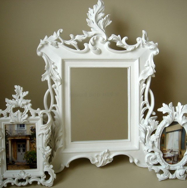 White Baroque Mirrors For Sale